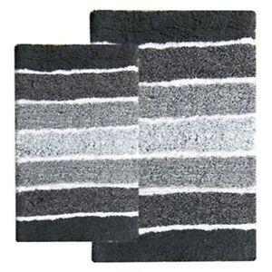 2 Piece Cordural Stripe Bath Rug Set Non Skid Backing Pure Cotton
