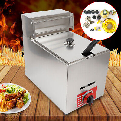 10l Commercial Desktop Deep Fryer Gas Fryer Pot Stainless Steel W Basket Acces
