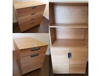 Three-piece Office Set - Oak - Large set of drawers, filing drawers on wheels and cupboard unit