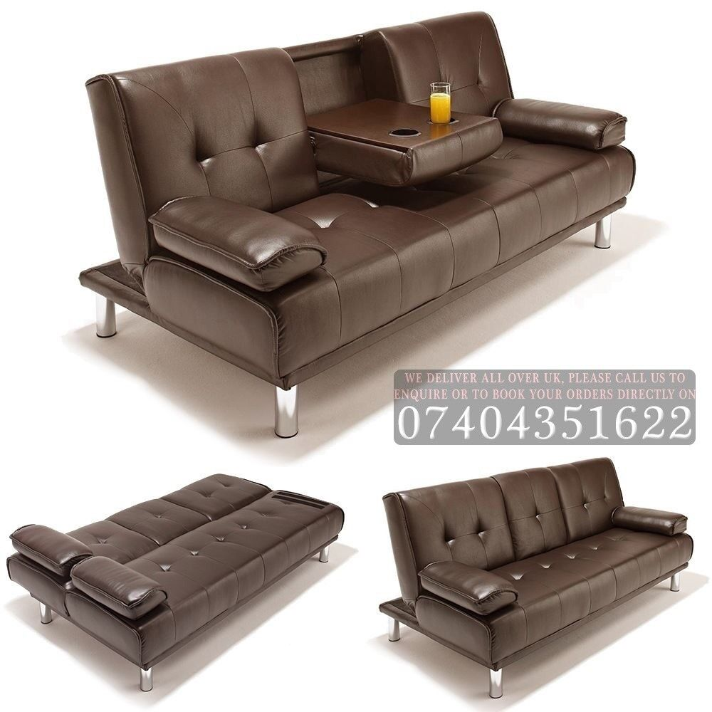 Comfy Manhattan 3 Seater Cinema Style Leather Sofa Bed Settee With Cupholder