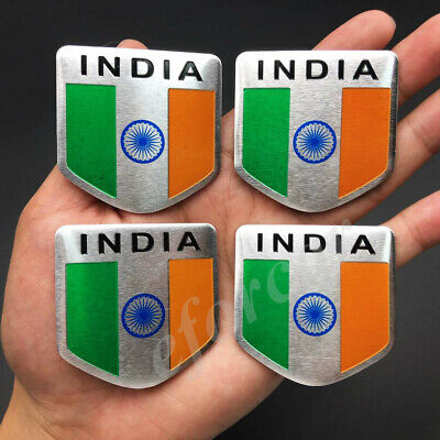 4x India Indian Shield Flag Car Emblem Badge Motorcycle Gas Tank Sticker Decal