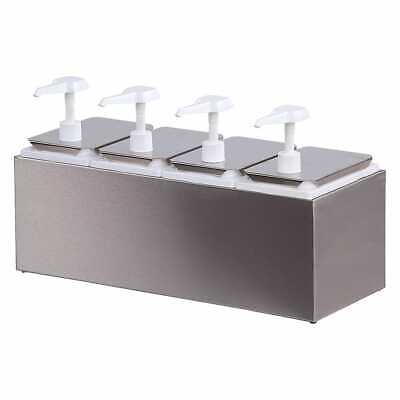 CARLISLE 38504 PUMP STYLE CONDIMENT DISPENSER STAINLESS KETCHUP MUSTARD TOPPINGS