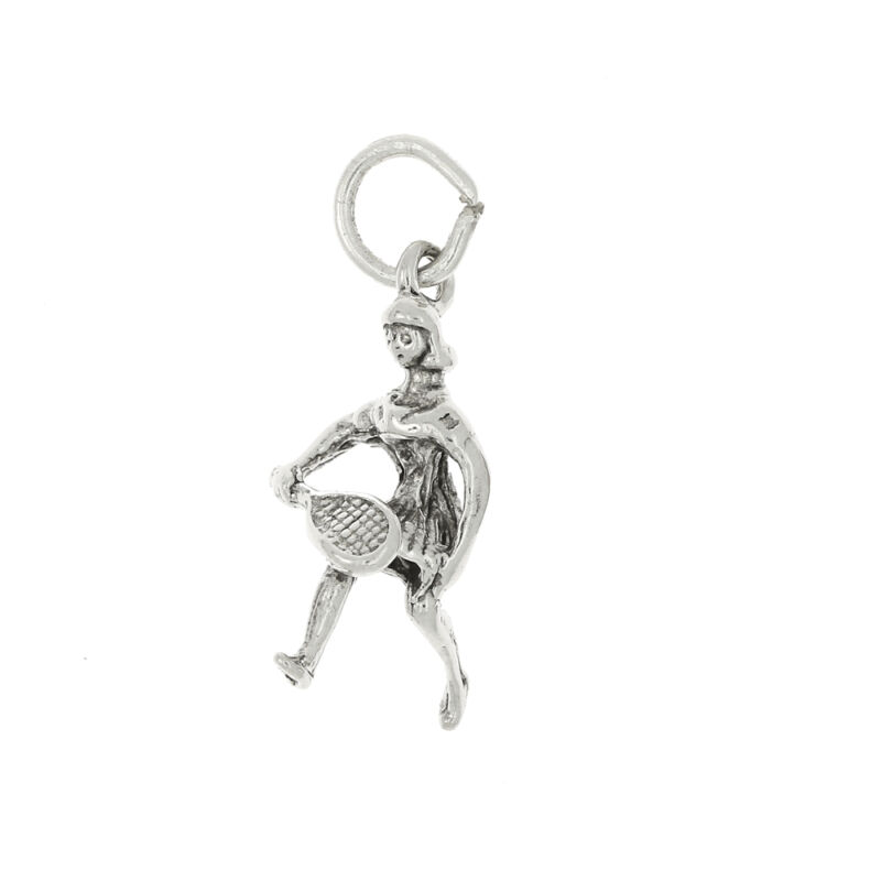 STERLING SILVER TENNIS PLAYER CHARM OR PENDANT