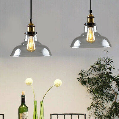 Vintage Industrial Ceiling Pendant Light + Bulb Retro Loft Style Glass Shade
