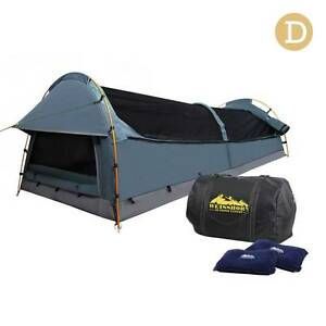 AUS FREE DEL-Double Canvas Camping Swag Tent Navy w/ Air Pillow Sydney City Inner Sydney Preview