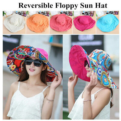 Women Summer Reversible Floppy Wide Brim Beach Roll Foldable Sun Hat Visor (Reversible Sun Hat)