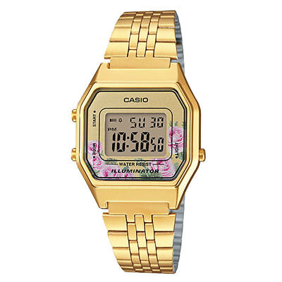 NEWEST Casio LA680WGA-4C Women Mid-Size Digital Retro Vintage Watch FLORAL GOLD Ladies Brushed Metal