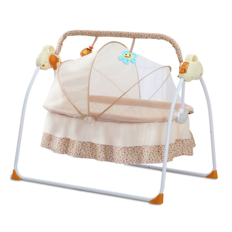 95*52cm Electric Folding Infant Crib Newborn Cradle Swings Rocking Chair Khaki
