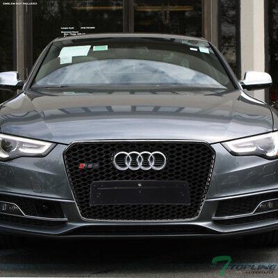Topline For 2013-2016 Audi A5 RS-Honeycomb Mesh Front Bumper Grille - Blk/Chrome