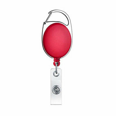 Safety Retractable Holder Badge Lanyard Reel Key Card ID Name Tag Belt Clip Red (Badge Card Holder Clip)