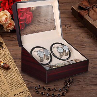 2 Motors Automatic Watch Winder 4+6 Storage Display Case Box Wooden Luxury
