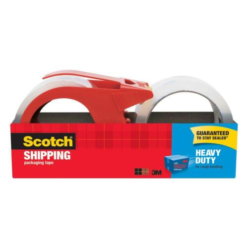 Scotch Heavy Duty Shipping/Packing Tape 2 Rolls, 1 Dispenser 109 yds total!