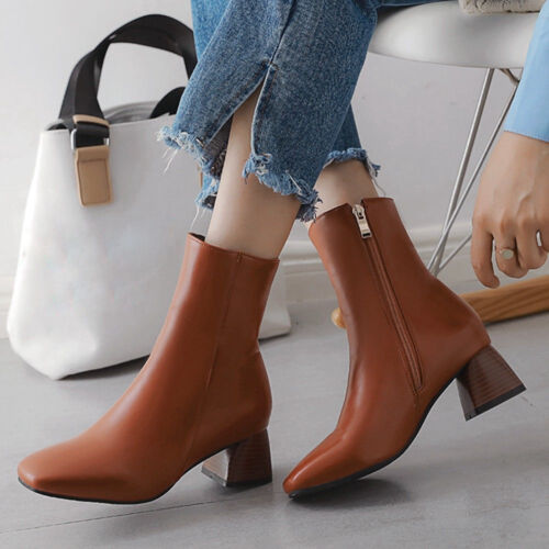 Women PU Ankle Short Boots Square Toe Block Heel Plus Size W