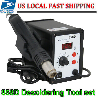 858d Hot Air Gun Kit Rework Station Smd Iron Soldering Solder Holder 3 Nozzles