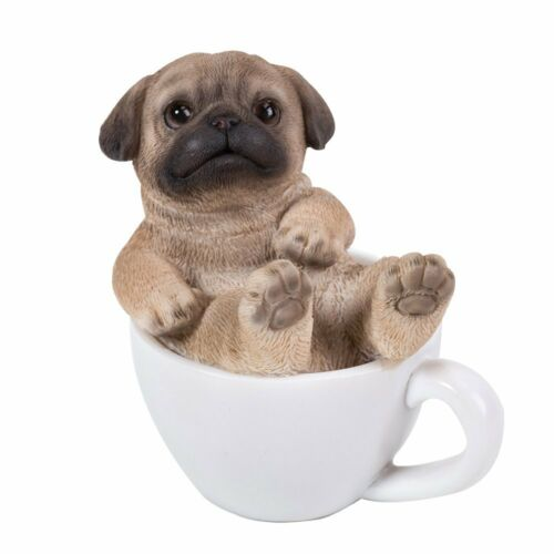 Cute Pug Puppy Dog Teacup Pet Pal Mini Figurine Statue