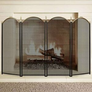 Large Gold Fireplace Screen 4 Panel Ornate Wrought Iron Black Metal Fire Place