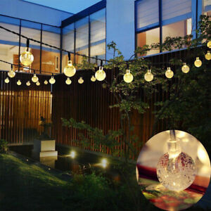 3a636902975bc 30 Solar Garden Lights String Fairy Multi LED Crystal Globe Ball  Weatherproof UK