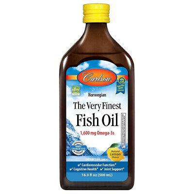 Carlson Fish Oil 1600 mg Omega 3 Supplement Lemon Flavor, 16