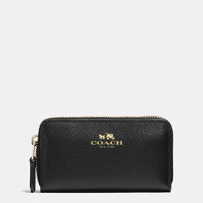 New Coach F63921 Small Double Zip Coin Case In Crossgrain Leather Black NWT