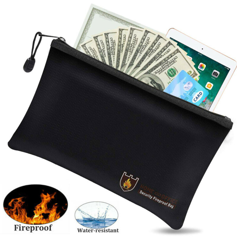 Fireproof Money Bag Waterproof Safe Cash Box Document Envelope File Pouch Case