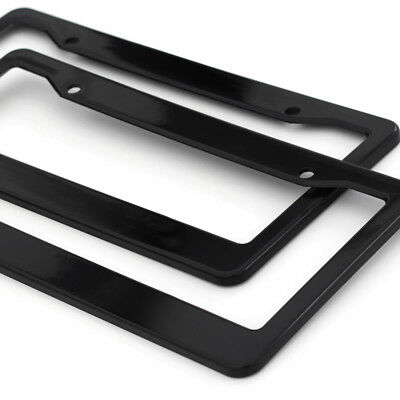 2pc OxGord Black Plastic License Plate Frame Tag Cover for Car SUV Van Truck - A