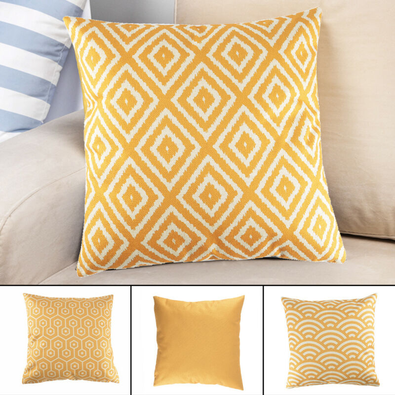Details about Decorative Throw Pillow Case Mustard Yellow Geometric Autumn  Cushion Cover UK