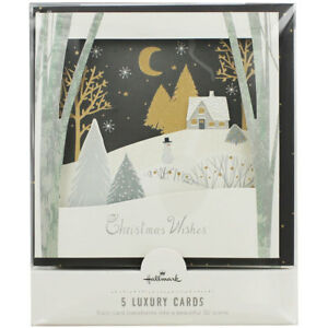 Hallmark Luxury Christmas Wishes Christmas Cards - Pack of 5, Stationery, New