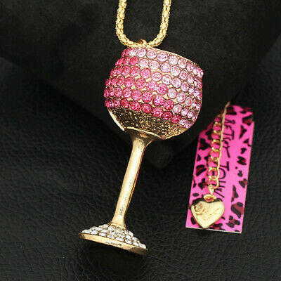 Pink Crystal Wine Glass Goblet Pendant Sweater Chain Betsey Johnson Necklace - Wine Glass Necklace