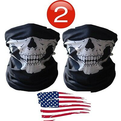 Black Mask Costume (2 Skeleton Ghost Skull Face Mask Biker Balaclava Costume)
