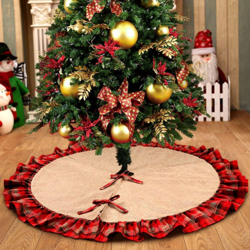 ourwarm burlap christmas tree skirt red black plaid ruffle edge border large 48 inches round indoor outdoor mat xmas party holiday decorations
