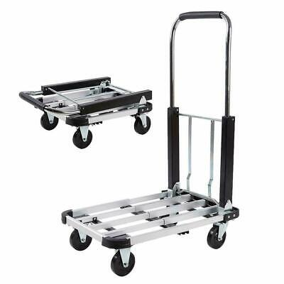 Portable Hand Truck Folding Platform Flatbed Cart Dolly Utility Cart W 4-wheels