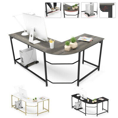 L Shaped Computer Desk Gaming Corner Home Office Pc Laptop Table Workstation