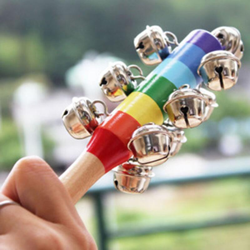 Christmas Gift Wooden Shaker Hand Holder Bell Ring Jingle Hand Bells Newborn Toy