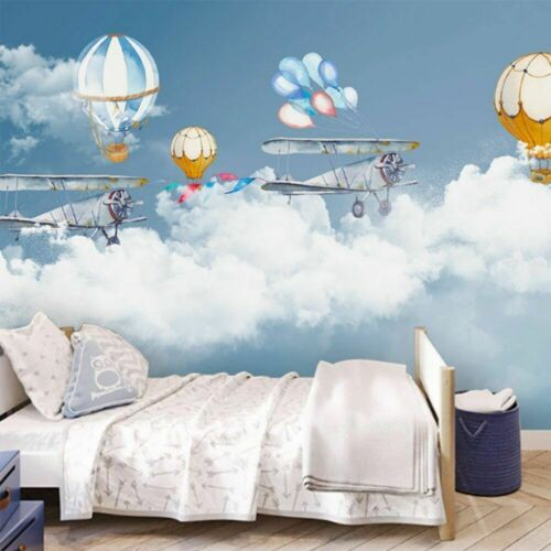 Custom Modern Minimalist Wallpaper Hot Air Balloon Plane Sky Home Wall Decor