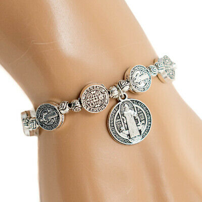Saint St Benedict Medal Silver Rosary Bracelet Pulsera De Plata De San Benito