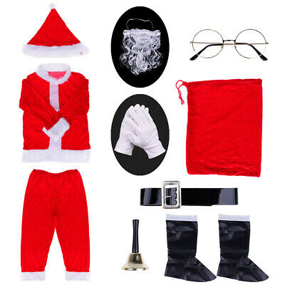 9Pcs Adult Plush Santa Claus Costume XMAS Christmas Apparel Suit M L For Men (Santa Claus Costumes For Adults)