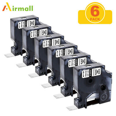 6pk 18444 Black On White Compatible For Dymo Rhino Ind Vinyl Label 12 12mm