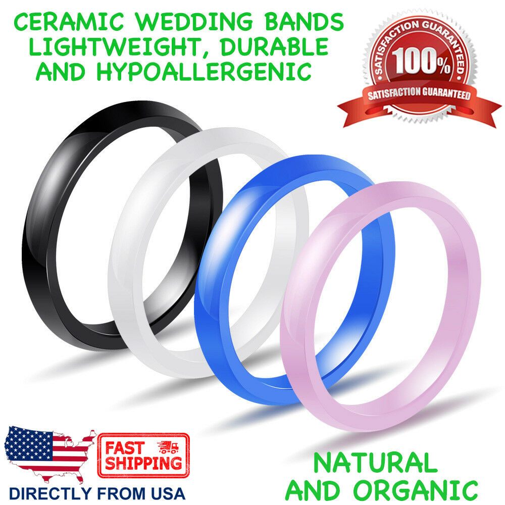 Ceramic Wedding Band Women's Men's Durable Hypoallergenic Comfort Fit 3mm Ring Fashion Jewelry