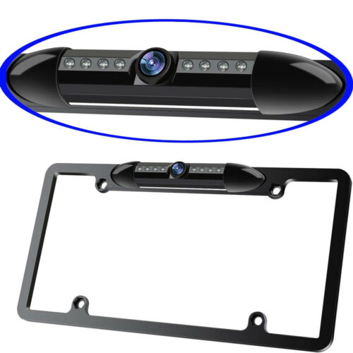 US License Plate Metal Frame Rear View Backup Camera LED Night Vision Reversing