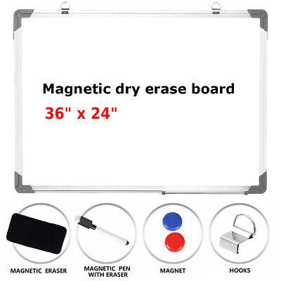 36x24 Magnetic Whiteboard - Aluminum Frame Dry Erase Board Marker Pen Commercial