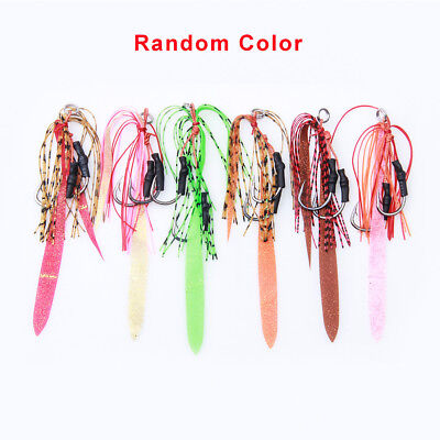 10pcs Rubber Jig Fishing Lure Assist Hooks Carbon Steel Tied Fish Hook with Line