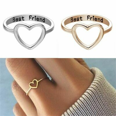 Stainless Steel Love Heart Best Friend Ring Promise Jewelry Friendship Band