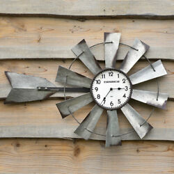Country new WINDMILL large Wall clock in distressed Tin