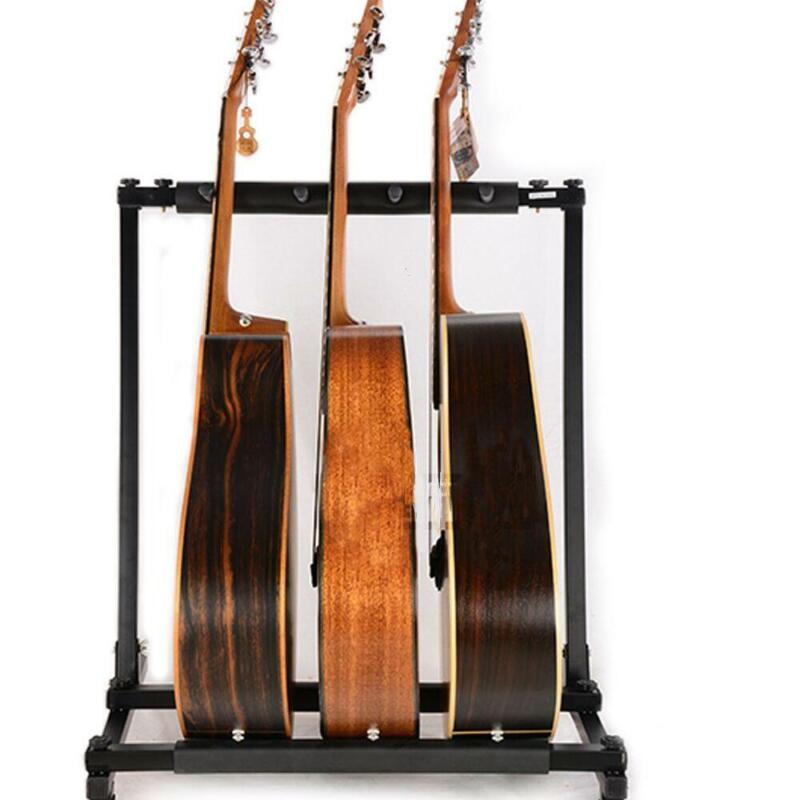 New 3 Triple Folding Multiple Iron Guitar Bass Holder Rack Stand