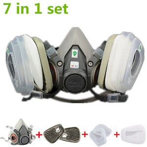 7in1 Half Face Mask Facepiece F 6200 Gas Painting Spray Protection Respirator