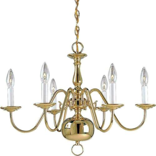 Progress Lighting Americana Collection 6-Light Polished Brass Chandelier