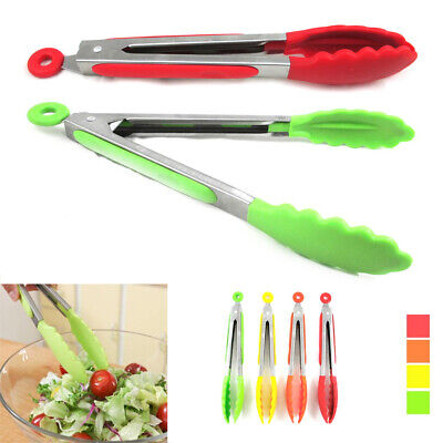2 Silicone Kitchen Tongs Stainless Steel Non-Stick Tip Heat Resistant Cook Serve Non Stick Silicone Tongs