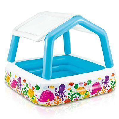 Yard Inflatable Kiddie Pool W/ Sun Protector Roof Shade House Preschool Kids