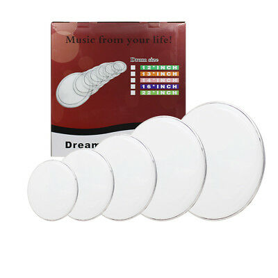 "New White 12"" 13"" 14"" 16"" 22"" PET Drum Heads Drum Skins Percussion Accessories"