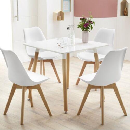 4 Stuhl Esszimmerstuhl Aus Holz Beine Retro Kunstleder Esszimmer Wohnzimmer  Weiß